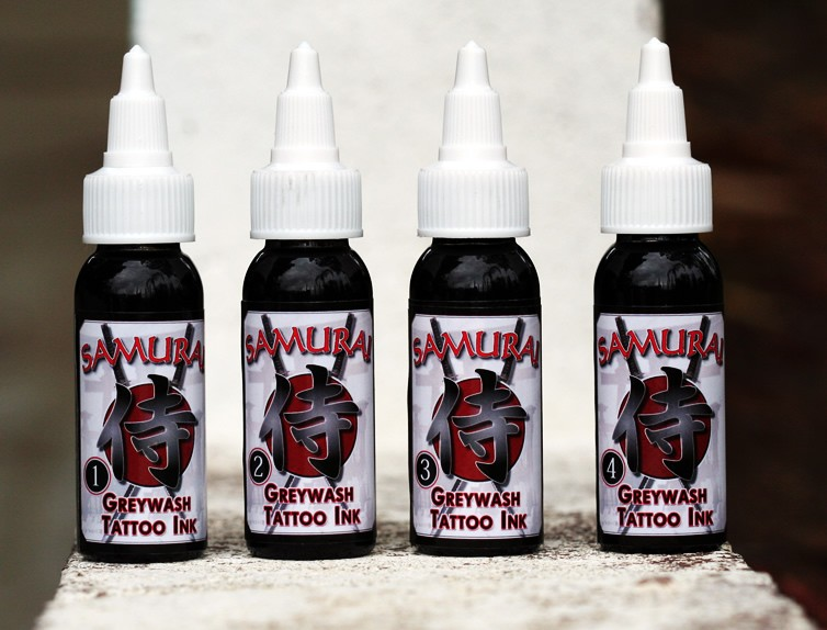 Tattoo Ink :: Grey Wash Set [4 Bottles] :: 1 Oz [each] :: Samurai
